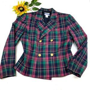 Pendleton Wool Plaid Cropped Blazer Jacket
